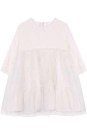 Платье из вискозы свободного кроя Il Gufo белого цвета | Фото №1