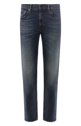 Мужские джинсы прямого кроя с потертостями POLO RALPH LAUREN темно-синего цвета, арт. 710689371 | Фото 1 (Длина (брюки, джинсы): Стандартные; Материал внешний: Хлопок; Силуэт М (брюки): Прямые)