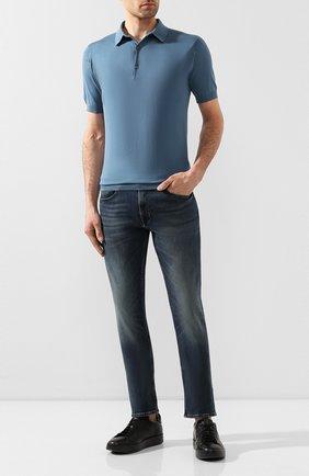 Мужские джинсы прямого кроя с потертостями POLO RALPH LAUREN темно-синего цвета, арт. 710689371 | Фото 2 (Длина (брюки, джинсы): Стандартные; Материал внешний: Хлопок; Силуэт М (брюки): Прямые)