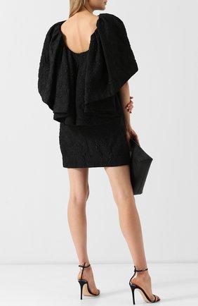 Однотонное мини-платье с оборкой CALVIN KLEIN 205W39NYC черное | Фото №1