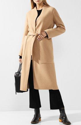 Пальто из смеси шерсти и кашемира с поясом The Row бежевого цвета | Фото №1