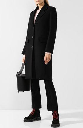 Однотонное пальто прямого кроя The Row черного цвета | Фото №1