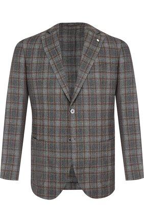 Однобортный пиджак из смеси шерсти и кашемира L.B.M. 1911 светло-серый | Фото №1