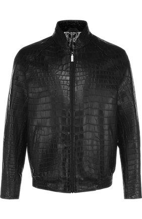 Куртка из кожи крокодила на молнии с воротником-стойкой | Фото №1