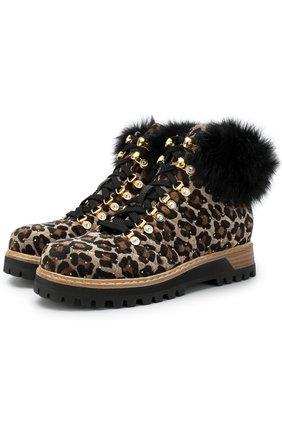 Текстильные ботинки на шнуровке с анималистичным принтом и меховой отделкой Le Silla коричневые | Фото №1