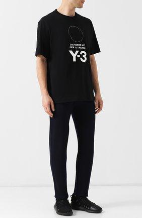 Текстильные кроссовки Kusari на шнуровке Y-3 черные | Фото №1