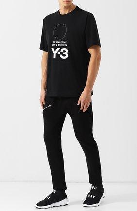 Хлопковая футболка с принтом Y-3 черная | Фото №1