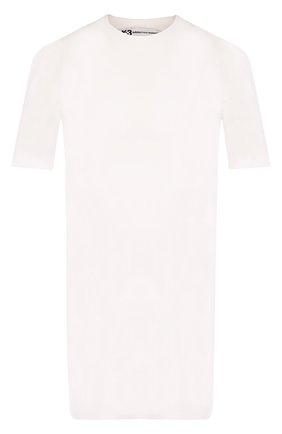 Удлиненная хлопковая футболка с круглым вырезом Y-3 белая | Фото №1