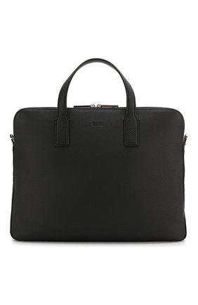 Мужская кожаная сумка для ноутбука BOSS черного цвета, арт. 50397344 | Фото 1