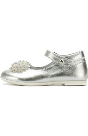 Детские кожаные туфли на застежке велькро с декором из бусин Missouri серебряного цвета | Фото №1
