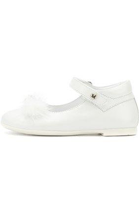 Детские кожаные туфли на застежке велькро с декором Missouri белого цвета | Фото №1