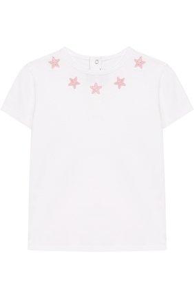 Детский хлопковая футболка с аппликациями GIVENCHY белого цвета, арт. H05040/9M-18M | Фото 1