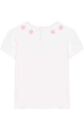 Детский хлопковая футболка с аппликациями GIVENCHY белого цвета, арт. H05040/9M-18M | Фото 2