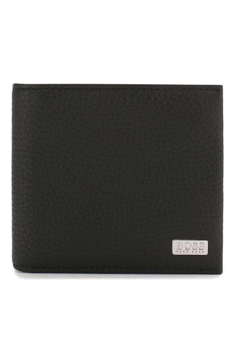 Мужской кожаное портмоне с отделениями для кредитных карт BOSS черного цвета, арт. 50390402 | Фото 1
