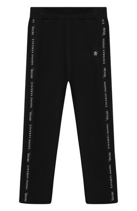 Хлопковые брюки с лампасами Young Versace черного цвета | Фото №1