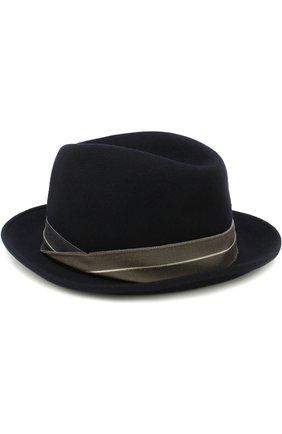 Мужская шерстяная шляпа GIORGIO ARMANI темно-синего цвета, арт. 747342/8A504 | Фото 1