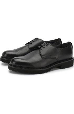Классические кожаные дерби на шнуровке Doucal's черные | Фото №1