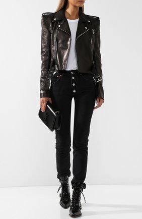 Кожаная куртка с поясом и косой молнией  Ben Taverniti Unravel Project черная | Фото №1