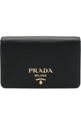 Женская сумка из кожи на цепочке PRADA черного цвета, арт. 1BP006-NZV-F0002-1 | Фото 1
