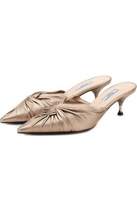 Кожаные мюли на каблуке kitten heel | Фото №1