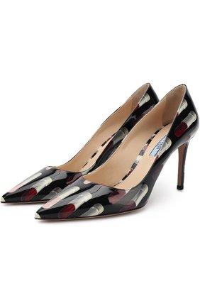 Лаковые туфли с принтом на шпильке | Фото №1