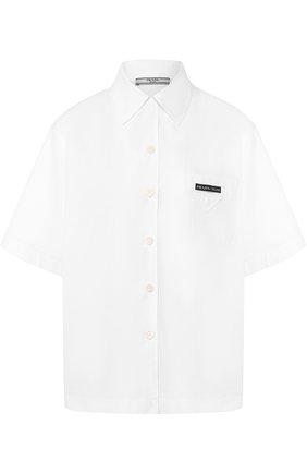 Хлопковая блуза с укороченным рукавом и накладным карманом | Фото №1