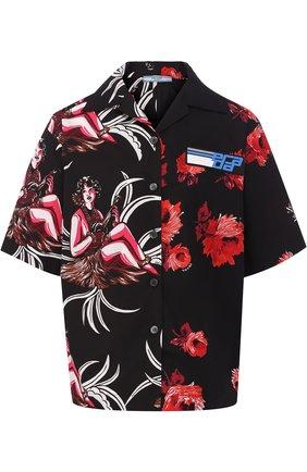 Хлопковая блуза с укороченным рукавом и принтом | Фото №1
