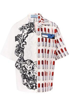 Женская хлопковая блуза с укороченным рукавом и принтом Prada, цвет разноцветный, арт. P433BG-1SGI-F0964 в ЦУМ | Фото №1