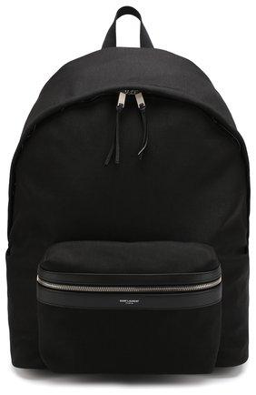 Текстильный рюкзак City с внешним карманом на молнии Saint Laurent черный | Фото №1