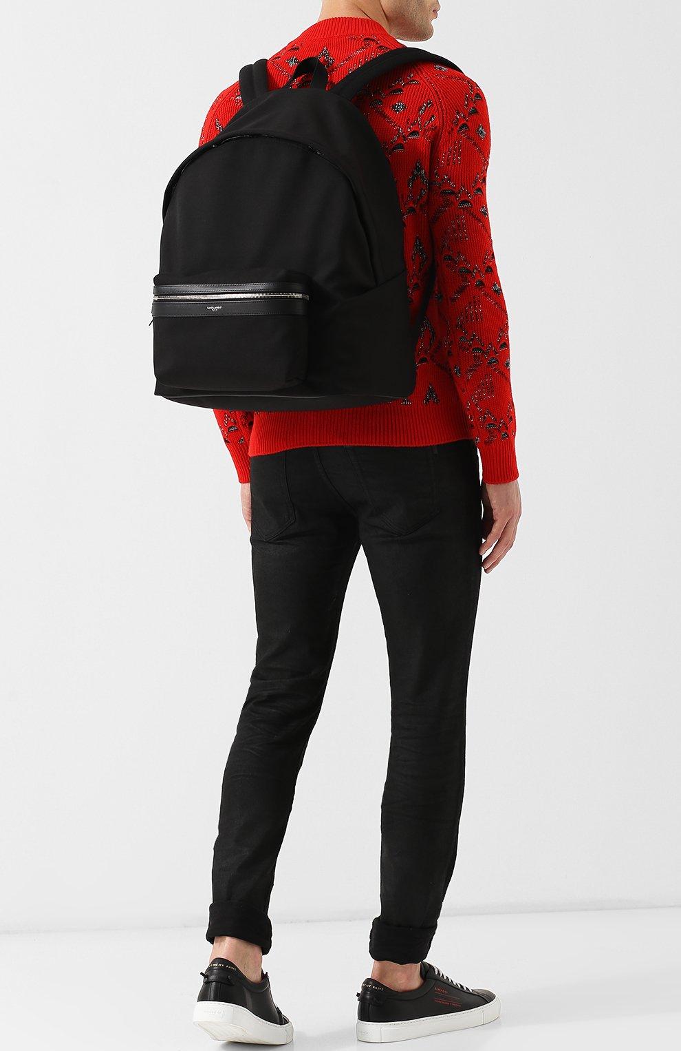 Текстильный рюкзак City с внешним карманом на молнии Saint Laurent черный | Фото №2