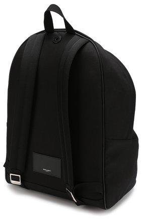 Текстильный рюкзак City с внешним карманом на молнии Saint Laurent черный | Фото №3