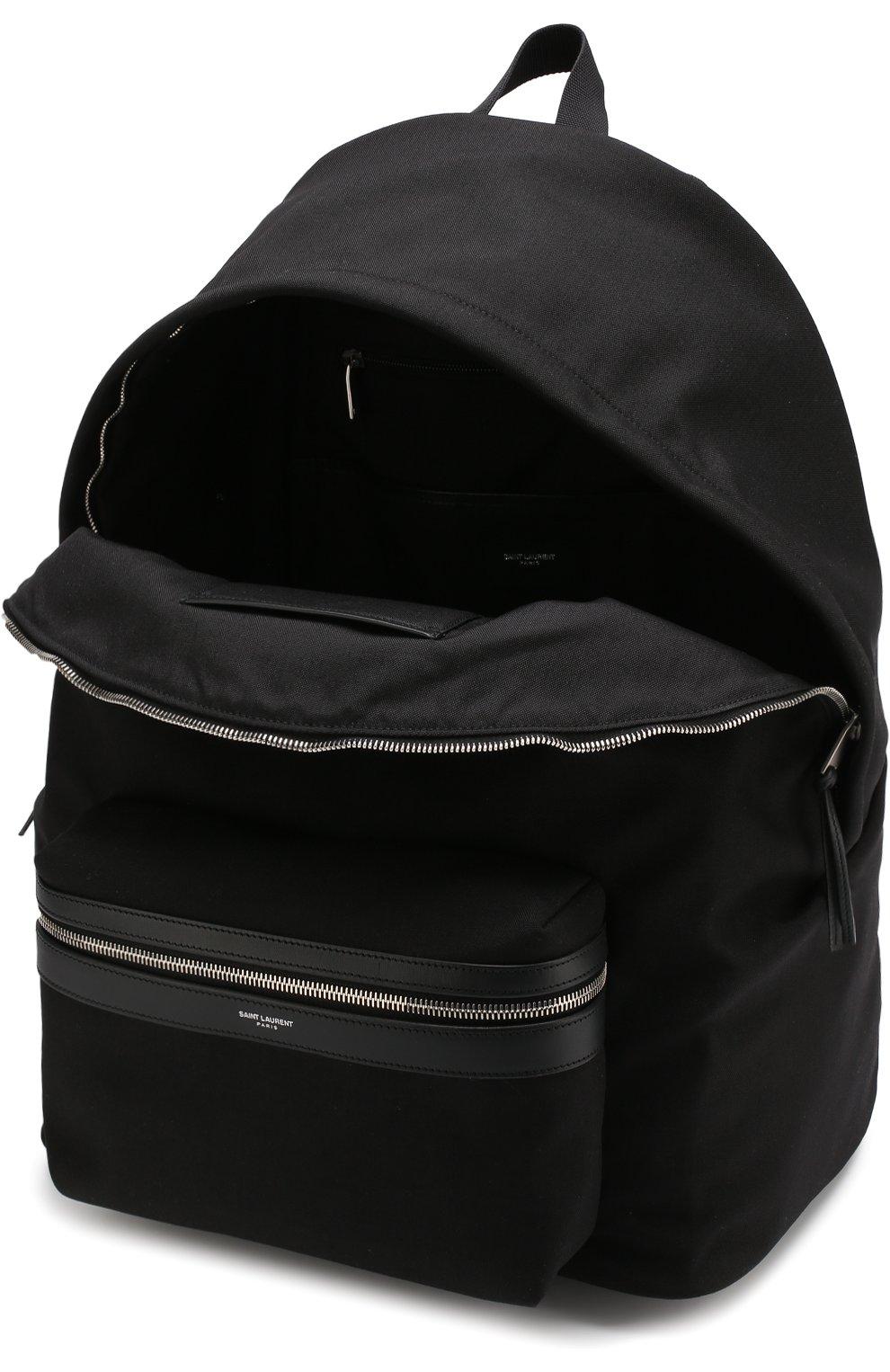 Текстильный рюкзак City с внешним карманом на молнии Saint Laurent черный | Фото №4