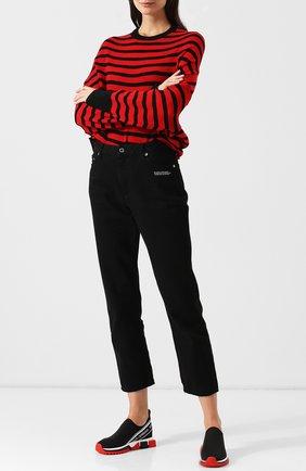 Женские текстильные кроссовки sorrento с логотипом бренда DOLCE & GABBANA черного цвета, арт. CK1595/AU988 | Фото 2
