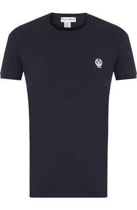 Хлопковая футболка с круглым вырезом и декоративной вышивкой | Фото №1