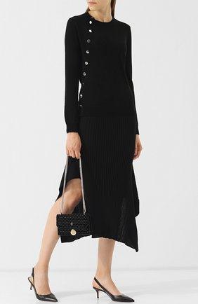 Шерстяной пуловер с контрастными пуговицами Altuzarra черный   Фото №1