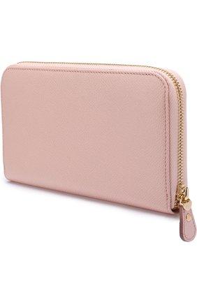 Кожаное портмоне на молнии Salvatore Ferragamo светло-розового цвета | Фото №1