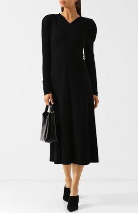 Однотонное платье-миди с V-образным вырезом Isabel Marant черное   Фото №1