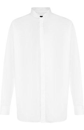 Мужская хлопковая рубашка с воротником-стойкой GIORGIO ARMANI белого цвета, арт. WSC0YT/WS28C | Фото 1