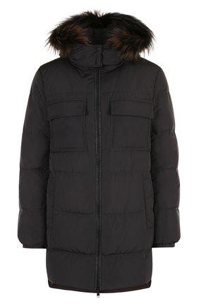 Стеганая куртка с капюшоном и воротником-стойкой | Фото №1