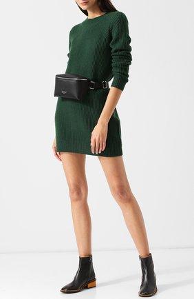 Вязаное мини-платье из кашемира FTC коричневое   Фото №1