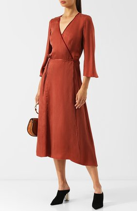 Однотонное платье-миди с запахом Forte_forte коричневое   Фото №1