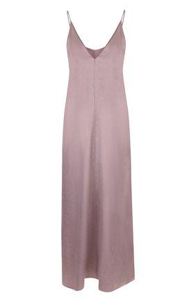 Однотонное платье-миди с V-образным вырезом Forte_forte лиловое   Фото №1