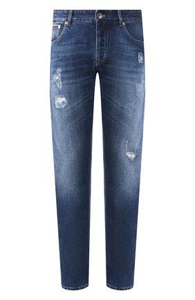 Мужские джинсы прямого кроя с потертостями BRUNELLO CUCINELLI синего цвета, арт. ME228D2370 | Фото 1