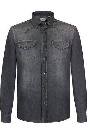 Мужская джинсовая рубашка BRUNELLO CUCINELLI темно-серого цвета, арт. ML6304078 | Фото 1