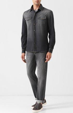 Мужская джинсовая рубашка BRUNELLO CUCINELLI темно-серого цвета, арт. ML6304078 | Фото 2