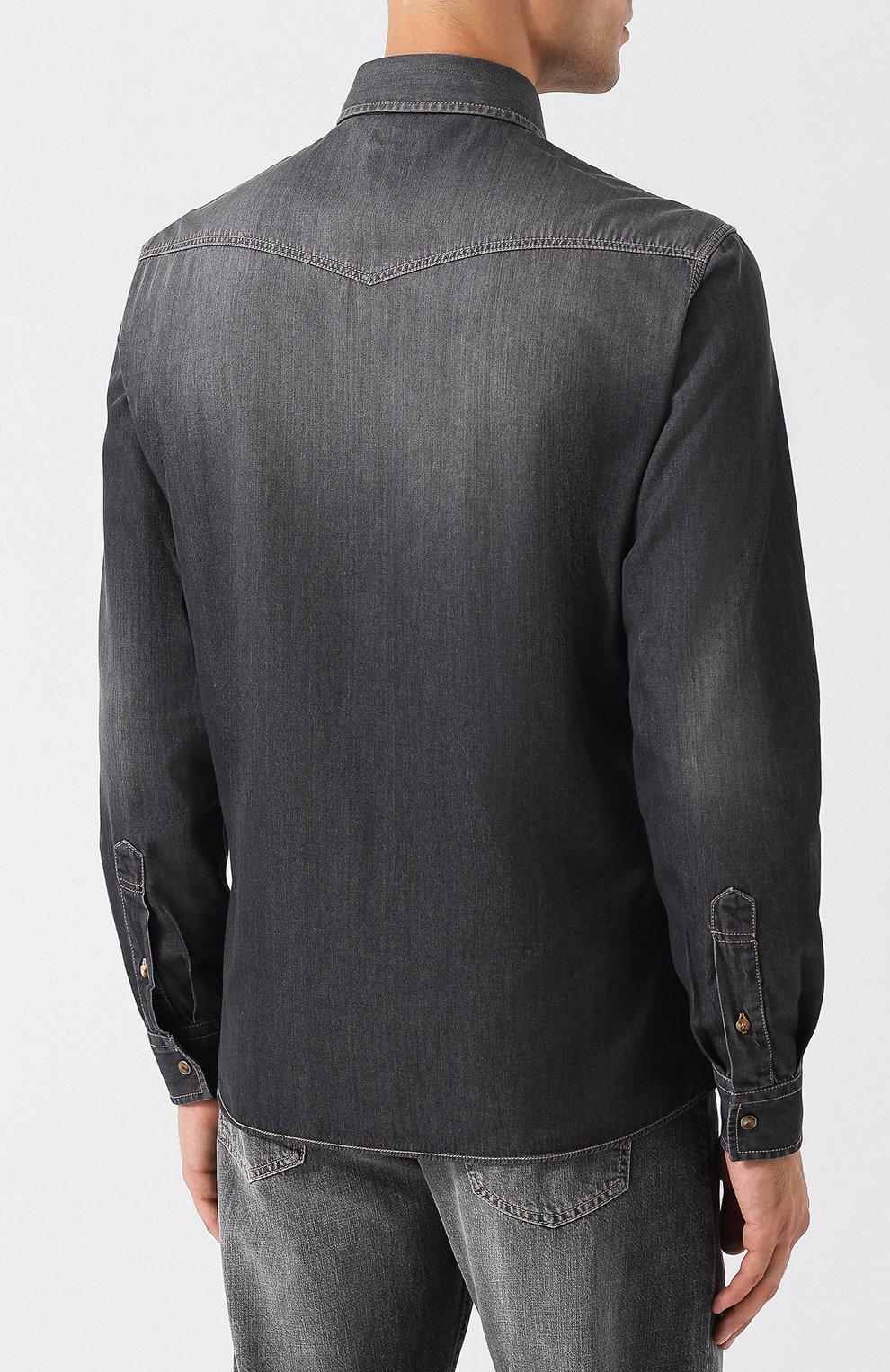c333e9907a8 Мужская темно-серая джинсовая рубашка с потертостями BRUNELLO ...