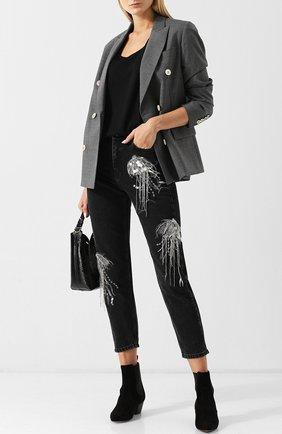 Укороченные джинсы с декоративной отделкой Dalood черные   Фото №1