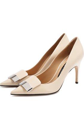 Кожаные туфли на шнуровке Sergio Rossi кремовые | Фото №1