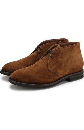 Замшевые ботинки на шнуровке   Фото №1