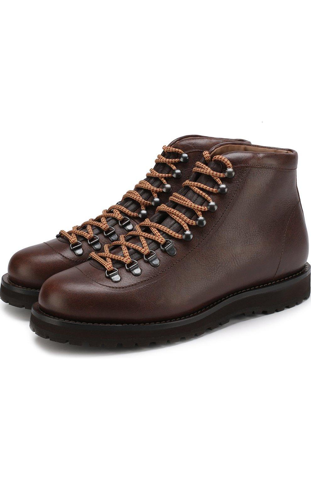 Мужские высокие кожаные ботинки на шнуровке BRUNELLO CUCINELLI коричневого цвета, арт. MZUKABH920 | Фото 1 (Мужское Кросс-КТ: Хайкеры-обувь, Ботинки-обувь; Статус проверки: Проверено, Проверена категория; Подошва: Плоская)
